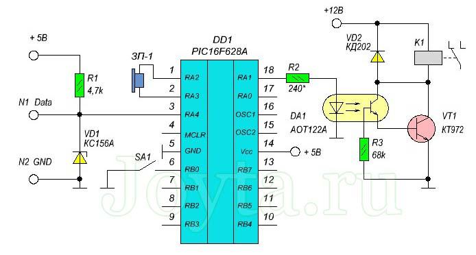 Электронный замок с ключом iButton DS1990A - схема 1