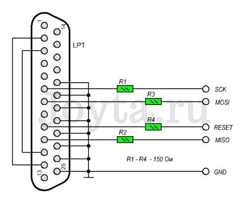 LPT программатор для микроконтроллеров AVR