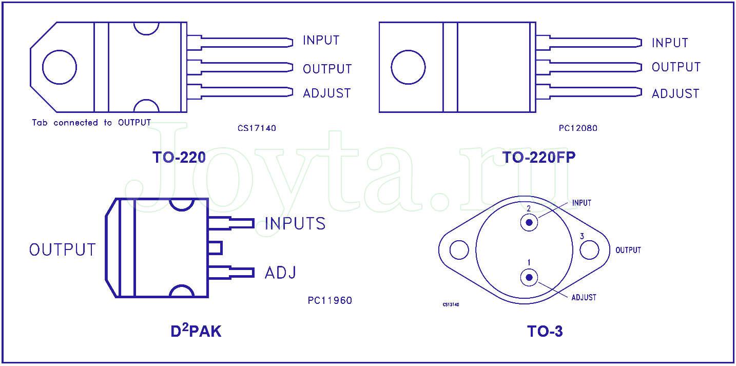 Выводы LM317 регулируемого стабилизатор напряжения и тока
