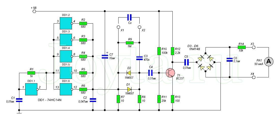 схема простой измеритель ESR
