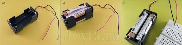 кассета для 4 батареек и макетная плата