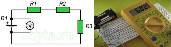 измерение мультиметром напряжения с двух сторон батареи