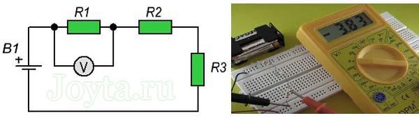 измерение мультиметром напряжения на резисторе R1