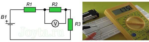 измерение мультиметром напряжения на резисторе R2