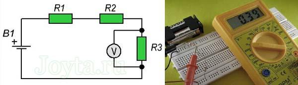 измерение мультиметром напряжения на резисторе R3