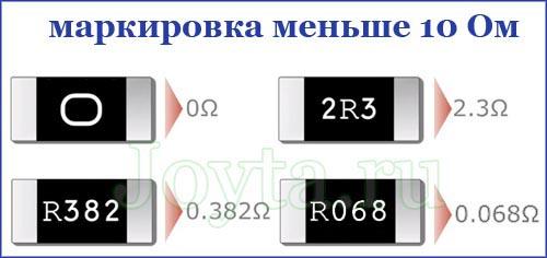 Маркировка SMD резистора менее 10 ом