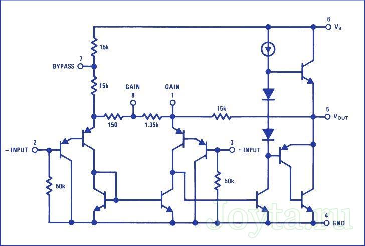 блок схема LM386