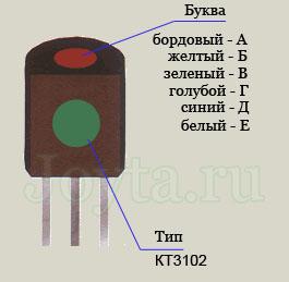 Цветовая маркировка транзистора КТ3102