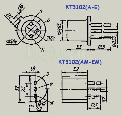 размеры транзистора КТ3102