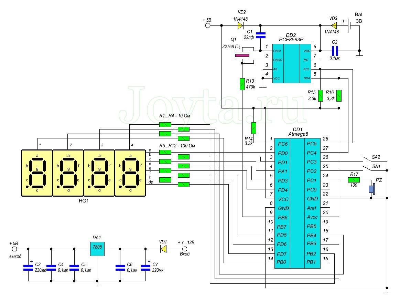 Часы на Atmega8 и семисегментном индикаторе схема