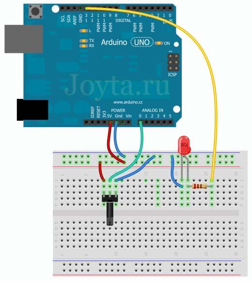 Подключение потенциометра к Arduino