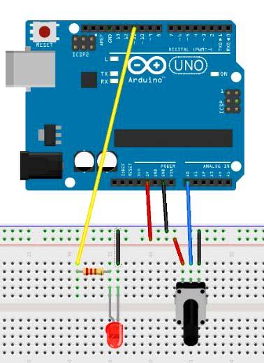 изменения свечения светодиода при помощи потенциометра