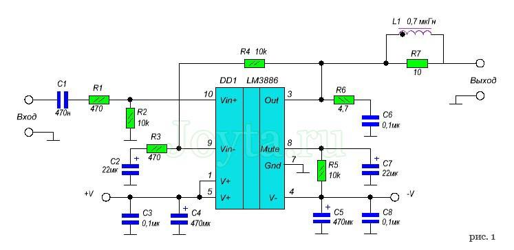 Усилитель мощности на микросхеме LM3886. Схема