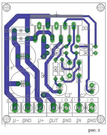 Усилитель мощности на микросхеме LM3886. Плата