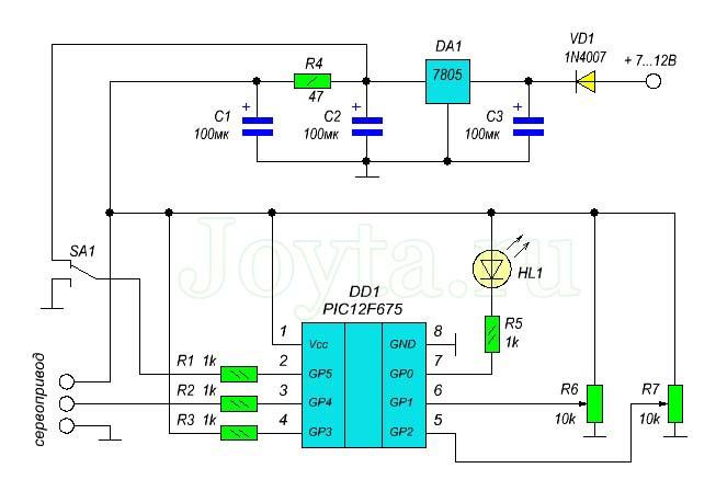 схема управления сервоприводом на микроконтроллере PIC12F675 - схема