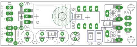 схема управления сервоприводом на микроконтроллере PIC12F675 - плата