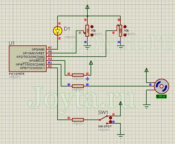 схема управления сервоприводом на микроконтроллере PIC12F675 в протеусе