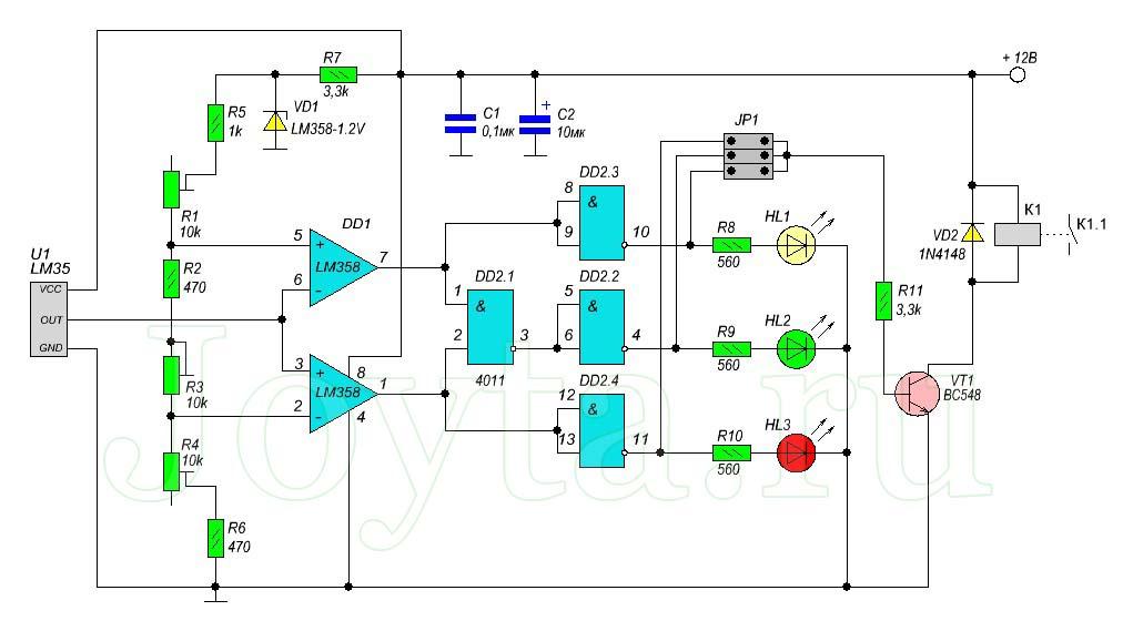 Простой терморегулятор со светодиодной индикацией на LM35