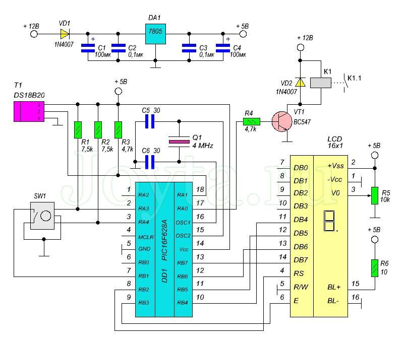 Простой термостат – термометр с энкодером на микроконтроллере PIC16F628