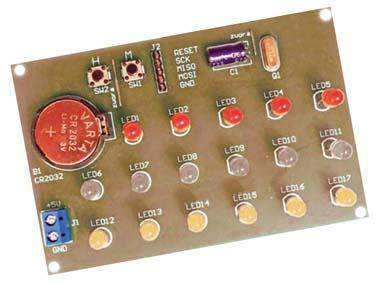 Простые бинарные часы на микроконтроллере. Схема