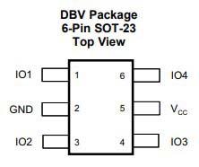 Распиновка выводов TPD4E001-Q1