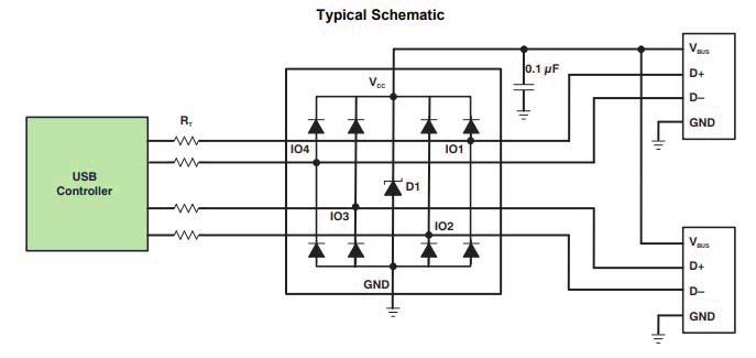 основная схема включения TPD4E001-Q1