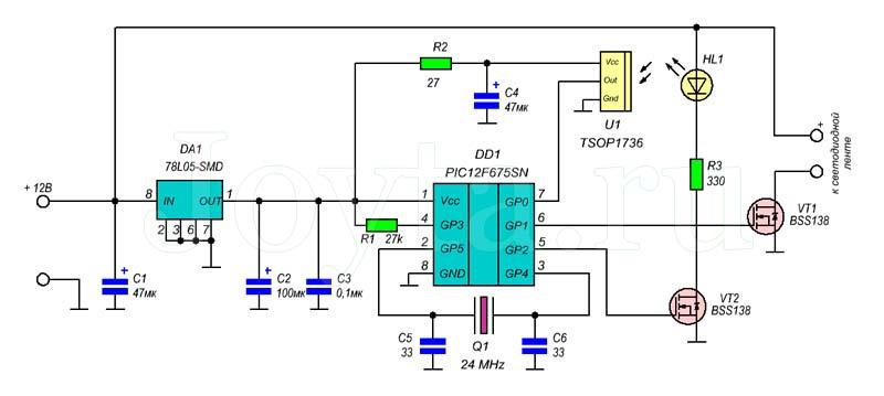 Инфракрасный включатель для светодиодной ленты