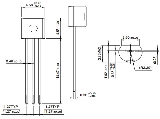 Габаритные и установочные размеры транзистора 2N3904