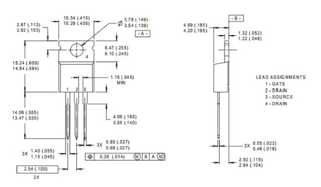 размеры транзистора IRF830