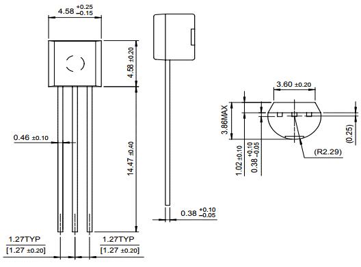Габаритные и установочные размеры транзистора 2SC1345