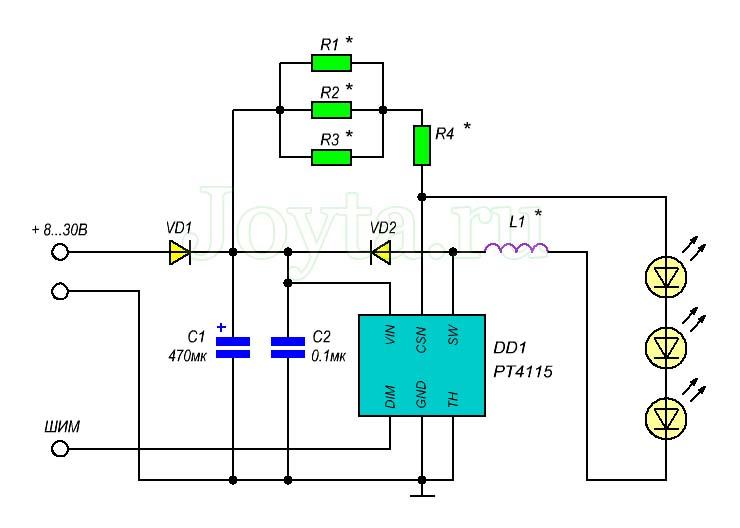 Универсальный блок питания для светодиодов на PT4115