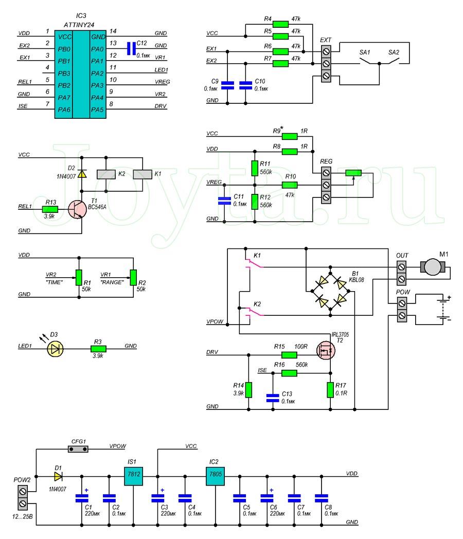 Многофункциональный контроллер для двигателя постоянного тока. Схема