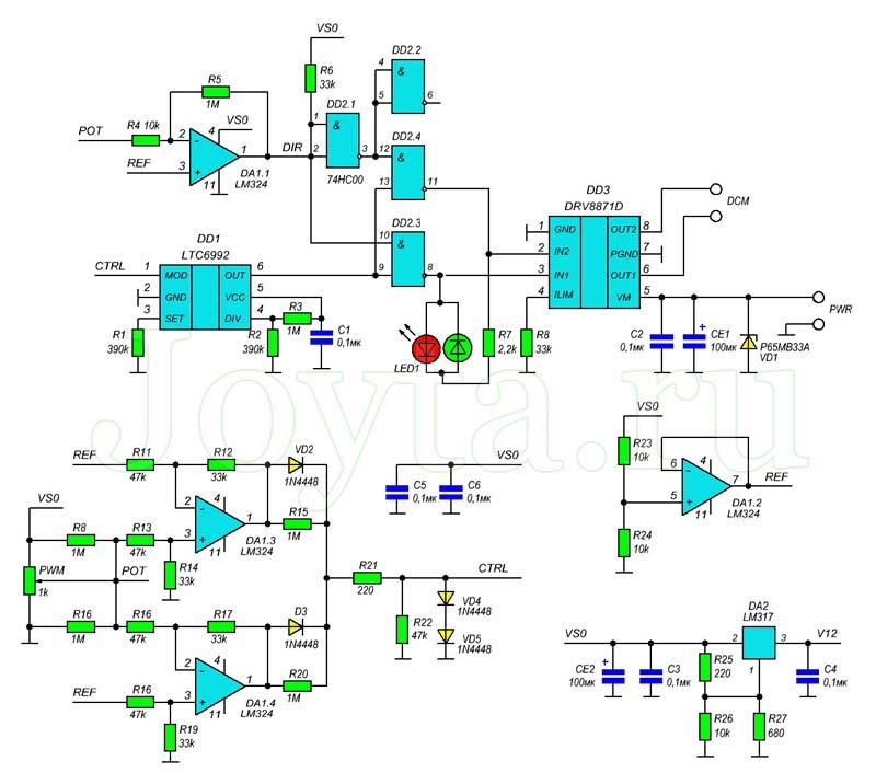 Двунаправленный регулятор скорости двигателя постоянного тока. Схема
