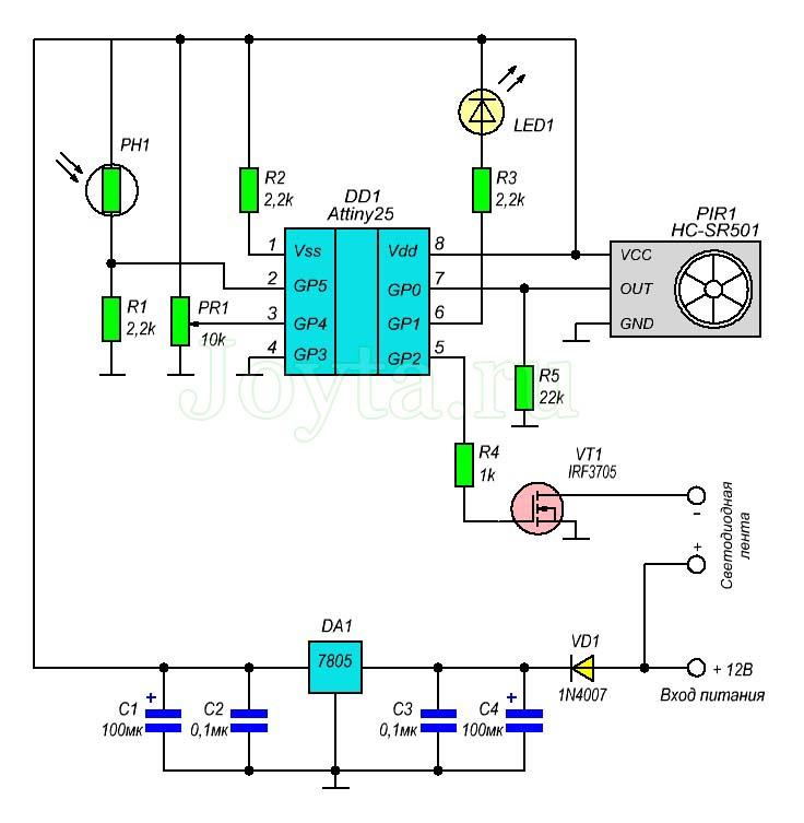 Контроллер светодиодного ночного освещения с детектором движения. Схема