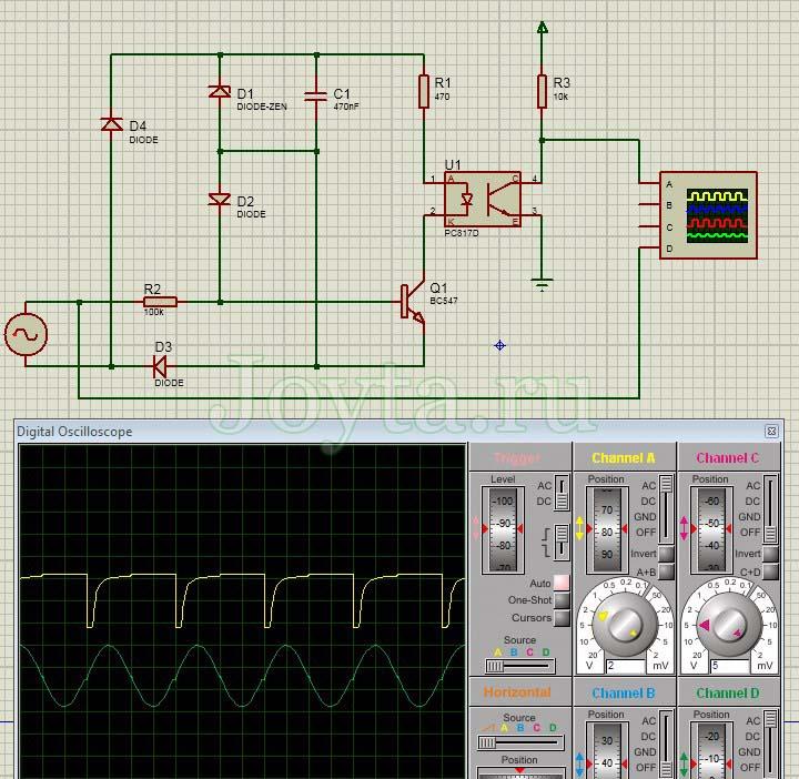 Простая схема детектора перехода через ноль - Proteus