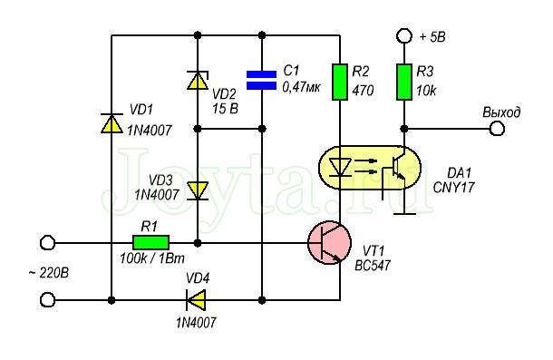 Простая схема детектора перехода через ноль