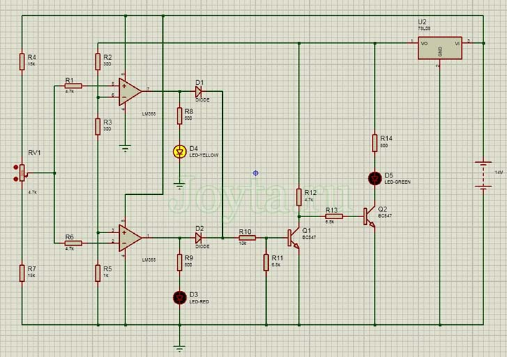 Работа индикатора напряжения в Proteus