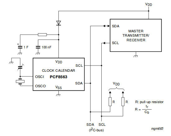 схема подключения из datasheet PCF8563