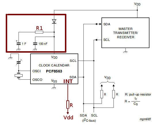Аварийное электропитание PCF8563