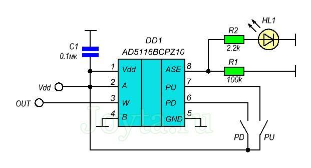 Цифровой потенциометр на AD5116
