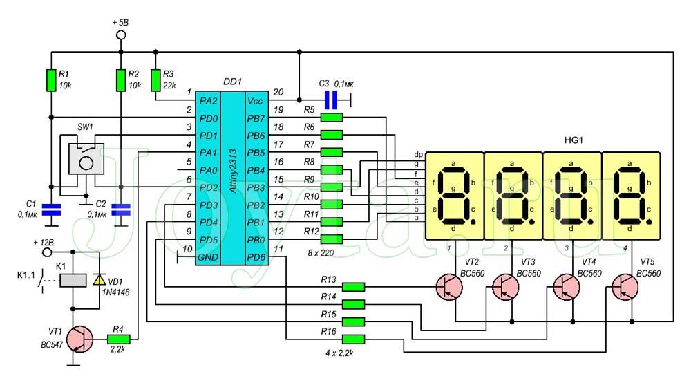 Cхема кодового замка с энкодором на микроконтроллере ATtiny2313