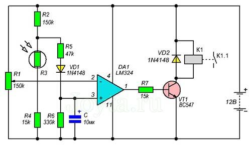 Модуль сумеречного выключателя на LM324