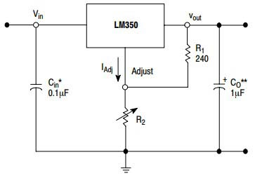 Типовое включение LM350