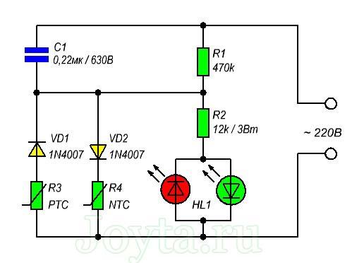 Простой светодиодный датчик температуры для электроприборов. Схема