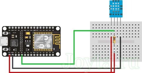 Подключение датчика влажности и температуры DHT11 к ESP8266 NodeMCU