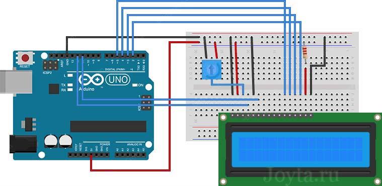 Подключение 16-символьного ЖК-дисплея к Arduino UNO
