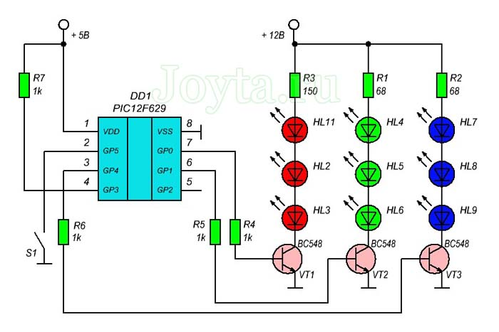 ШИМ-контроллер для RGB светодиодов с использованием PIC PIC12F629