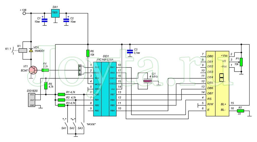 Универсальный термостат на микроконтроллере PIC16F628