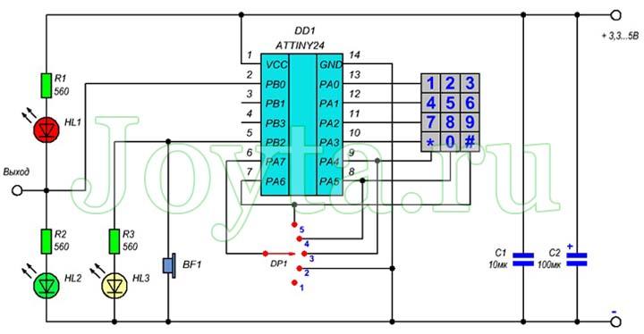 Простой кодовый замок на ATTiny24A. Схема и описание
