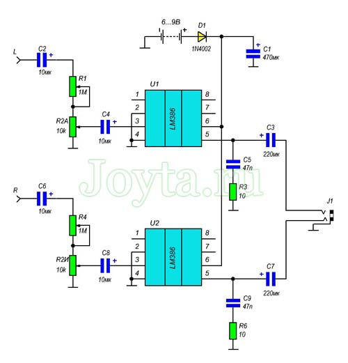 Простой усилитель для стереонаушников на LM386. Схема